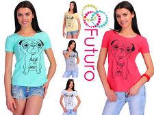 Casual T-Shirt Hug Me Print Cotton Top Party Crew Neck Tunic Sizes 8-14 FB180
