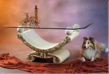 Designer Couchtisch Antik mit Kugeln Wohnzimmertisch Tisch Glastisch 50 cm VA