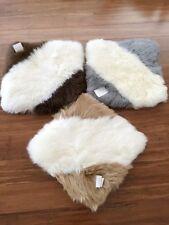 Warm square twill genuine fluffy Australian sleepskin lambskin car seat rug mat