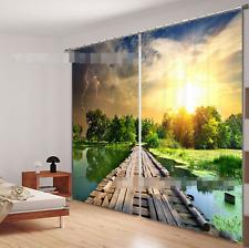 3D Wood Bridge Blockout Photo Curtain Printing Curtains Drapes Fabric Window AU