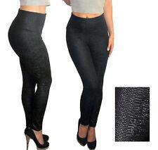 UK Damen hohe Taille Party Leggings Wetlook Hose schwarz Stretch Band Gr. 6 8 S