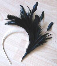 BLACK feather headband fascinator millinery wedding