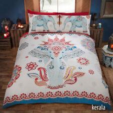 ethnique éléphant Kerala imprimé rouge blanc et bleu