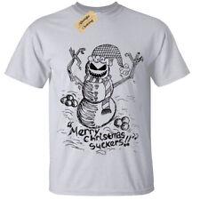 Evil Muñeco De Nieve Hombre Camiseta Regalo De Navidad espeluznante Cráneo Gótico Burton presentes