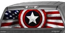 AMERICAN FLAG & SHIELD Rear Window Graphic Decal Truck Patriotic SUV ute waving
