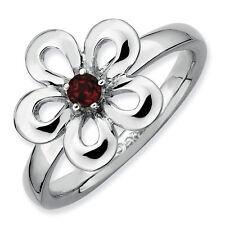 Sterling Silver Stackable Flower Ring Garnet stones, Birthstone Ring QSK120