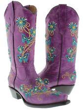 Women's Purple Western Cowboy Cowgirl Leather Boots Butterfly Flowers Snip Toe