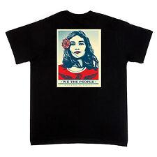 We The People LATINA AMERICAN WOMAN BLK SHIRT Fairey save DACA 10% Red Cross