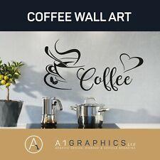Coffee Kitchen Wall Stickers Vinyl Art Decals Cafe Diner Hearts DIY