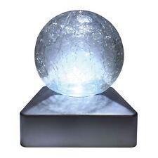 Crackle Glass Ball da giardino ad energia solare per esterni Deck Cap Quadrato Bianco LED Luci