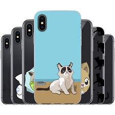 dessana Comic Katzen TPU Silikon Schutz Hülle Case Handy Tasche Cover für Apple