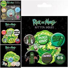 New Rick and Morty 6 Pack Badges GBEYE Gift UK Adult Swim Anime Cartoon
