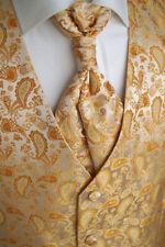 Hochzeitsweste mit Plastron, Einstecktuch und Krawatte, Gold Nr.:13.1 Gr. 44-114