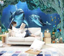 3D Deep Sea Dolphin46 Fototapeten Wandbild Fototapete Bild Tapete Familie Kinder