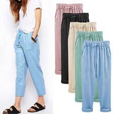 Plus Size Women Elastic High Waist Casual Pants Baggy Loose Crop Pants Trousers