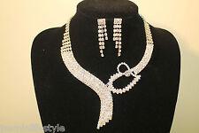 Damen Strass Diamante Bridal Halsketten-ohrringe Party Ball Kostüm Schmuck