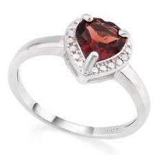 Damen Ring Kim, 925er Silber, 1,26 Kt. echter Granat/Diamant