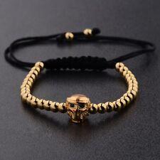 4 Colors Helmet ET Skull Head Micro Zircon 4mm Beads Braiding Macrame Bracelets