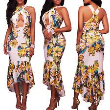 Vestito donna lungo asimmetrico abito floreale elegante coda scollato DL-2269