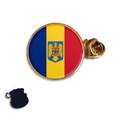 ROMANIA ROMANIAN FLAG & COAT OF ARMS ENAMEL  LAPEL PIN BADGE GIFT