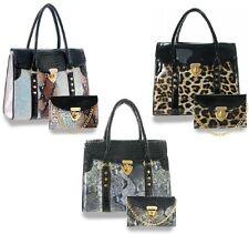 New Handbag Express Black+Brown+Leopard Leatherette Handbag+Wallet,Wristlet