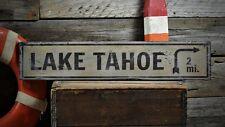 Custom Lake Tahoe Distance Sign - Rustic Hand Made Vintage Wooden ENS1000056
