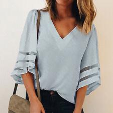Summer Women Bell Flare Sleeve Blouse Casual Boho Loose V-Neck Tops T-Shirt UK