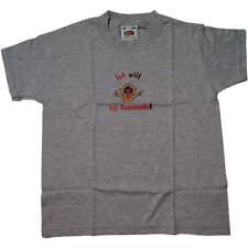 """Baby Kinder Feuerwehr T-Shirt """"Ich will zur Feuerwehr"""", graumelliert"""