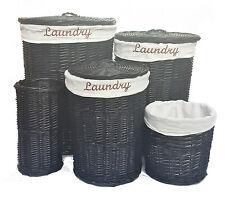 Large Black Wicker Round Bedroom Laundry Basket Bin Toilet Roll Holder + Lining
