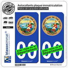 2 Stickers autocollant plaque immatriculation Auto : Californie - Armoiries