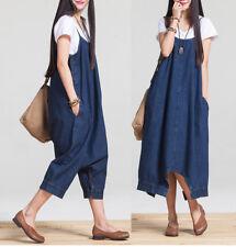 New Womens Denim Dungaree Overall Dress Jean Pinafore Suspender Skirt Baggy Plus