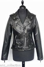 "Tania Black Ladies Woman's ""Brando Style""  Designer Real Cow Hide Leather Jacket"