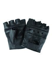 Biker Fingerlinge fingerlose Handschuhe echt Leder schwarz XS-XXL  Neu