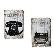 Holzschild Old Style Telefon o Schreibmaschine Shabby Schild 38x25 Holz-Paneele