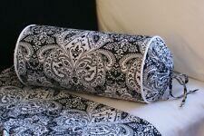 NEW Custom Ralph Lauren Montecito Black and White Neck Roll Pillow Neckroll