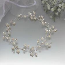 Pearl Gypsophila Bridal Hair Vine Gold or Silver Finish 31cm Accessory UK Seller
