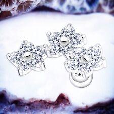 JUNIPER Flower Conch Piercing Silver Cartilage Stud Crystal Helix Earrings Studs