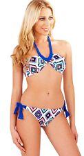 Womens Bandeau Bikini Set Diamond Print Halter Neck Straps Ladies Size UK 8 - 14