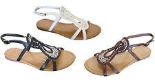 New  Women's Sandals T-Strap Rhinestone Gladiator Flat Sandals (8044)
