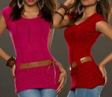 ♥ SeXy Miss Damen Strick Pullover Pulli Trendy Girly Gürtel 32/34/36/38 Pink Rot