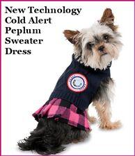 "Pet Dog Luv Gear ""COLD ALERT"" Blue Soft Cable Knit Sweater Dress XXS/XS  M/L"