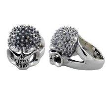Sterling Silver Biker Skull Ring w/ Spikes