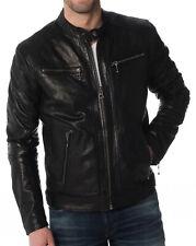 Men's Stylish Motorcycle Biker Genuine Lambskin Nappa Leather Jacket Mj 59