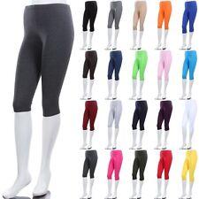 Women's Solid Plain COTTON BASIC CAPRI Leggings Below Knee Stretchable S M L 1XL
