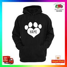 NOME CANE PERSONALIZZATO Felpa con cappuccio Felpa con cappuccio stampata I Love Cuore Zampa Animale Domestico Cucciolo i tuoi cani