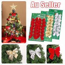 12x Bow Christmas Tree Decoration Xmas Ornament Bowknot Party Wedding Decor