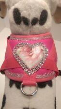 Softgeschirr  Brustgeschirr Hundegeschirr XS-M Welpen pink Herz Glitzer Blumen