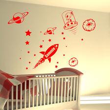 personnalisé Fusée nom espace étoiles Chambre à coucher garçons