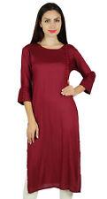 Bimba Maroon Rayon Custom Kurta Designer Kurti 3/4 Sleeve Casual Tunic Blouse