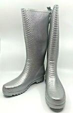 Stuart Weitzman Amazonia Silver Textured Tall Rain Logo Boots